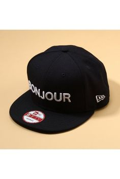 """Bonjour"" navy snapback by Japanese label 417."