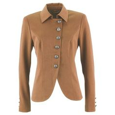 Veste près du corps avec patte de boutonnage et base arrondie.