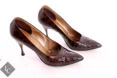 Nordstroms martiniere brown snake skin pointed toe heels on Etsy, $50.00