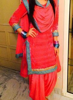 Carrot Color Lace Work Full Punjabi Salwar Kameez at Zikimo