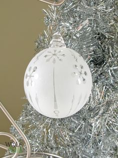 Blown Glass Christmas Tree Ornament Signature Series Clear Retro Snowflakes Etch