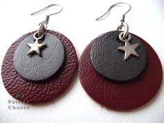 Boucles d'oreilles rond de cuir rouge et gris métallisé, etoile (no tutorial, inspiration only)