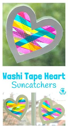 A heart craft with a WOW factor! This Washi Tape Heart Suncatcher craft is simple to make and looks amazing. A great Mother's Day or Valentine's Day craft for kids. #valentine #valentinesday #valentinescraft #valentinecraft #valentinescrafts #valentinecrafts #valentinesdayforkids #heart #love #heartcrafts #washitape #washitapecrafts #kidscrafts #kidscraftideas #craftsforkids #kidscraftroom #suncatchers #suncatchercrafts #windowcling #valentinesdaycraft #mothersday #mothersdaycraft via…