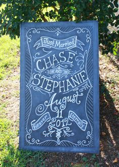 24x36 Chalkboard Art Sign for your Wedding or Event by watermelonstand, $92.00 for actual hand painted chalkboard (unframed)