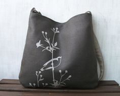 Hemp Messenger Bag with Songbird on Flower Organic Cotton Lining - Charcoal Gray. $65.00, via Etsy.