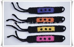 by hf Leather and studs detail crochet bracelet ❥ 4U //