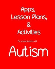 (Autism) Apps, Lesson Ideas and Activities for Young Children with Autism Autism Sensory, Autism Activities, Autism Resources, Therapy Activities, Sensory Therapy, School Resources, Autistic Children, Children With Autism, Young Children