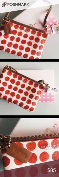 Coach Saffiano Painted Dot Canvas Wristlet In Red A hand-painted print adds a playful edge to this versatile little case crafted in durable coated canvas. Finished with smooth leather and an elegant wrist strap. Includes 2 interior credit card pockets and a larger slip pocket on back. Can be used as a wallet or smart phone holder. Never been used with tags still attached. Coach Bags Clutches & Wristlets