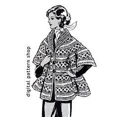 Crochet Cape Pattern- 1970s Vintage Womens Cape Crochet Pattern Shawl Collar DIY Crochet Pattern Instant Download PDF Size 8 to 16 - C32