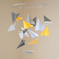 Cute Paper Airplane Mobile - Choice of Colors. $35.00, via Etsy.
