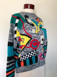 606fc2e9a90790 Vintage abstract geometric sweater 1980s 1990s