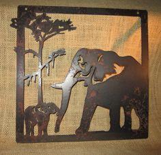 Elephants-Metal Art-Safari Art-Home Decor on Etsy, $20.00