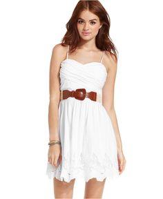 City Studios Juniors Dress, Sleeveless Belted Sweetheart - Juniors Dresses - Macy's