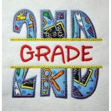 Split 2nd Second Grade Applique Back to School