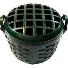Cast Metal Basket Flower Frog
