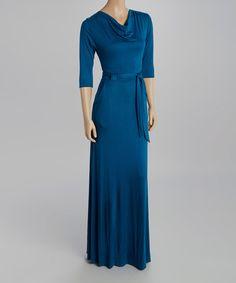 Another great find on #zulily! Teal Tie-Waist Maxi Dress #zulilyfinds
