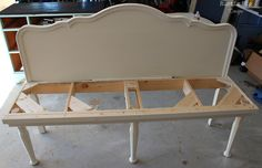 Headboard bench :-) Great idea for weird space or size!