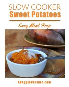 How to Cook Sweet Potatoes in a Slow Cooker, so simple ♥ AVeggieVenture.com. Great for Meal Prep. Vegan. Gluten Free. WW Friendly. Budget Friendly. Slow Cooker Sweet Potatoes, Cooking Sweet Potatoes, Easy Meal Prep, Easy Meals, Vegetable Seasoning, Winter Recipes, Winter Food, Vegetable Recipes, Slow Cooker Recipes