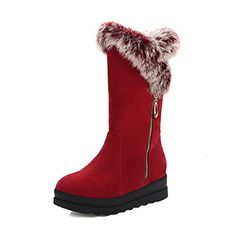 AllhqFashion Women's Solid Imitated Suede Kitten-Heels Zipper Round Closed Toe Boots, Red, 33 (*Partner Link) for sale Women's Over The Knee Boots, Suede Boots, Kitten Heels, Women Jewelry, Zipper, Toe, Amazon, Image Link, Awesome