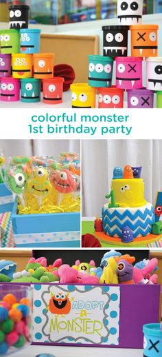 Celebrate your little one with a party that suits his wild personality. This colorful monster themed birthday party is full of creative decorations, delicious treats and kid-friendly activities you can use as inspiration for this amazing celebration. 1st Birthday Boy Themes, Little Monster Birthday, Monster 1st Birthdays, 1st Birthday Decorations, Wild One Birthday Party, Twins 1st Birthdays, Monster Birthday Parties, First Birthday Parties, 1st Birthday Activities