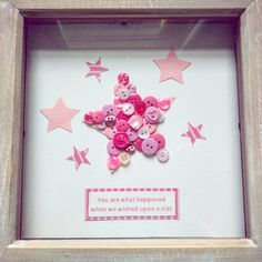"""""""You are what happened when we wished upon a star"""" Perfect gift for a new arrival. Can be ordered in range of colours and personalised with names/dates. Frame 8""""x8"""" £15"""