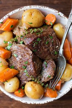 A simple yet perfect pot roast with carrots, potatoes, onions, fresh herbs and roasted garlic. It's tender, flavorful and requires just one pot! Pot Roast Recipes, Gourmet Recipes, Crockpot Recipes, Cooking Recipes, Healthy Recipes, Game Recipes, Healthy Food, Carrot Recipes, Eating Clean