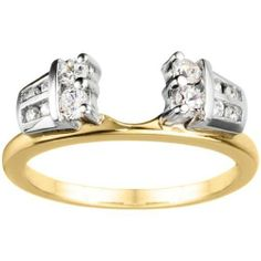 10k White Gold Cubic Zirconia Classic Wedding Ring Wrap . $265.00