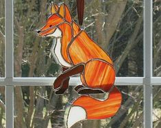 Fox suncatcher, stained glass window hanging ornament, gift for her, home decor, outdoor garden ornament, gift for him, nature glass art.