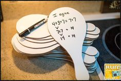 Ping-pong paddle shaped whiteboards!