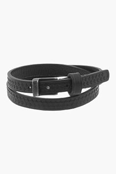 Dsquared2 Black Leather Maple Leaf Double-wrap Armlet for men | SSENSE