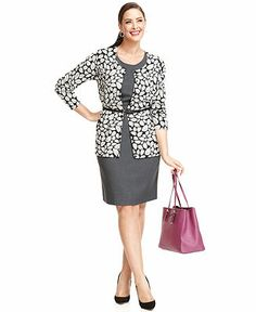 Work Your Wardrobe Plus Size Printed Cardigan & Sheath Dress Look - Calvin Klein - Plus Sizes - Macy's