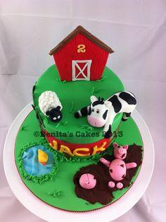 2nd birthday Farm cake Farm Birthday Cakes, 2nd Birthday, Farm Cake, Hospitality, Desserts, Food, Tailgate Desserts, Barnyard Cake, Deserts