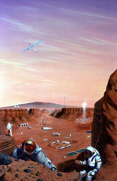 """1985 NASA concept art by Pat Rawlings shows """"Pavonis Mons, a large shield volcano on Mars' equator overlooking the ancient water eroded canyon in which the base is located. Hardware seen here include. Cosmos, Mars Colony, Mission To Mars, Space And Astronomy, Science Fiction Art, Imagines, Space Travel, Space Exploration, Retro Futurism"""