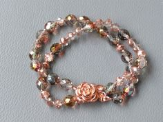 """Multicolored Crystal Double-Strand Bracelet with Rose Magnetic Copper Clasp, 7"""""""