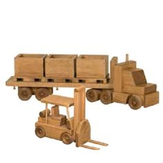 Handmade Maple Skid Tractor Trailer Truck with Skids & Wood Fork Lift This awesome set with full load and working Forklift will lift anyone's spirits for hours. Makes a truly unique and beautiful toy,