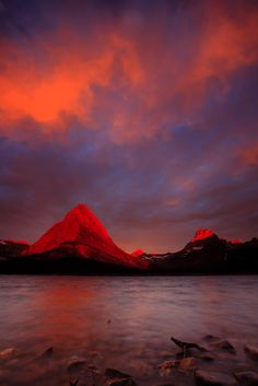 Fire in the sky & Mountains Lake, Glacier National Park, Montana, USA, by Joe Dsilva Swiftcurrent