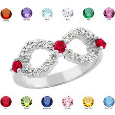 Fine 10k White Gold Personalized MixandMatch CZ Birthstone Infinity Ring Size 625 * Check out this great product.