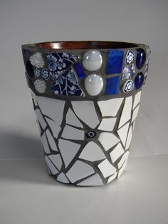 Cobalt and White Mosaic Flower Pot or Caddy