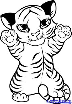 How to draw a tiger cub - Hundreds of drawing tuts on this site