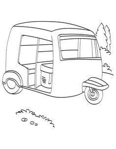 Printable Auto Rickshaw Coloring Page