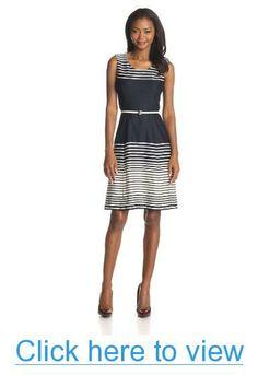 Anne Klein Women's Ombre Stripe Flare Dress