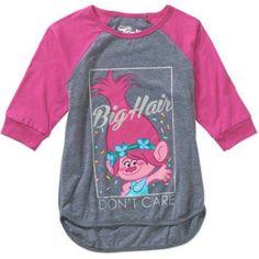Trolls Girls' Big Hair Don't Care 3/4 Sleeve Raglan Tee, Size: L-10/12, Pink