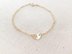 Gold Initial Heart Bracelet Double chain bracelet 14kt by RHjewels