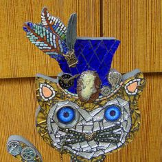 Steampunk Cat In a Blue top Hat Original Mosaic Art by zzbob