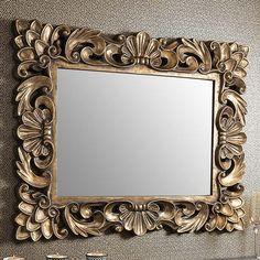 Levinia Rococo Wall Mirror Levinia Rococo Wall Mirror 105 x Mirrored Furniture, Shabby Chic Furniture, Spiegel Design, Diy Mirror, Wall Mirror, Vintage Photo Frames, Futuristic Interior, Wood Carving Designs, Shabby Chic Frames