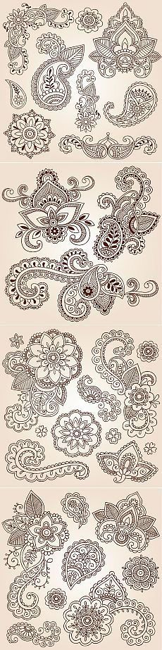 New Drawing Ideas Zentangle Henna Ideas Henna Patterns, Zentangle Patterns, Embroidery Patterns, Design Patterns, Design Ideas, Doodles Zentangles, Paisley Design, Paisley Pattern, Mandala Art
