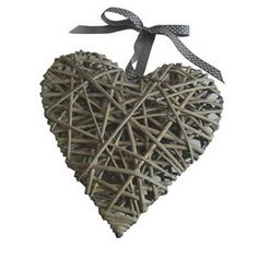 Large Natural Wicker Heart