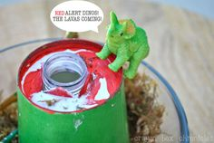 {Dinosaur Craft} Mini-Volcano Craft + Science Experiment by Crayon Box Chronicles