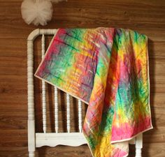Tie Dye Baby Quilt Colorful quilt Cotton Blanket by FelixFunhouse, $75.00