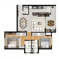 Modern Bungalow House Plans, Small House Floor Plans, New House Plans, Sims 4 House Design, Sims House, Small House Design, Home Building Design, Home Design Plans, Building A House